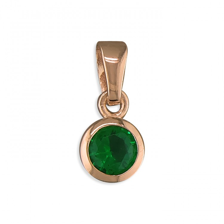 May birthstone rose gold-plated rub-over cubic zirconia