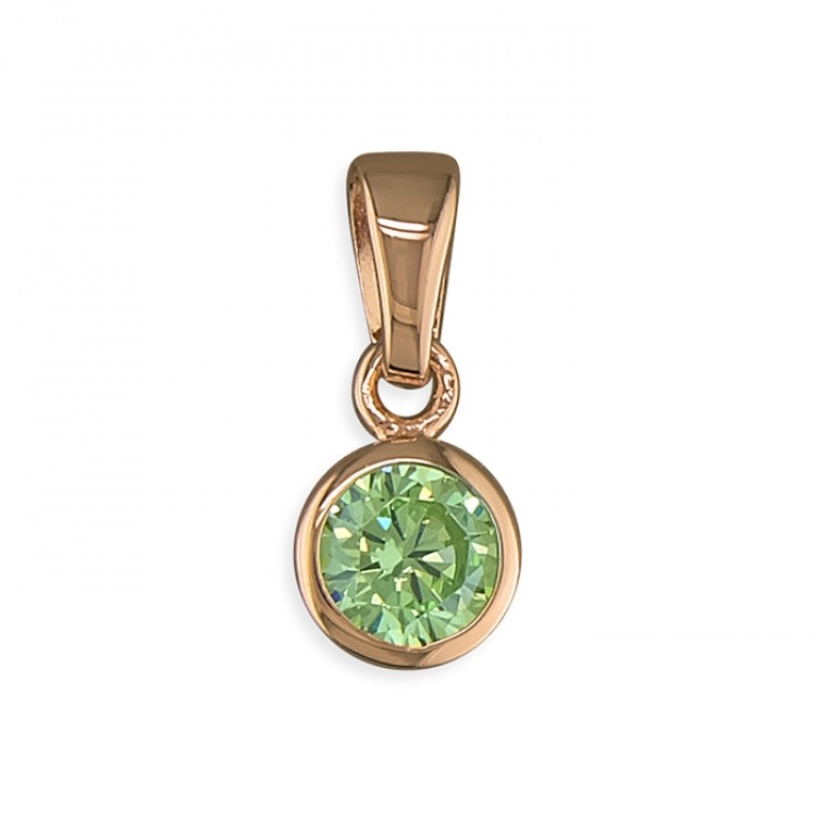 August birthstone rose gold-plated rub-over cubic zirconia