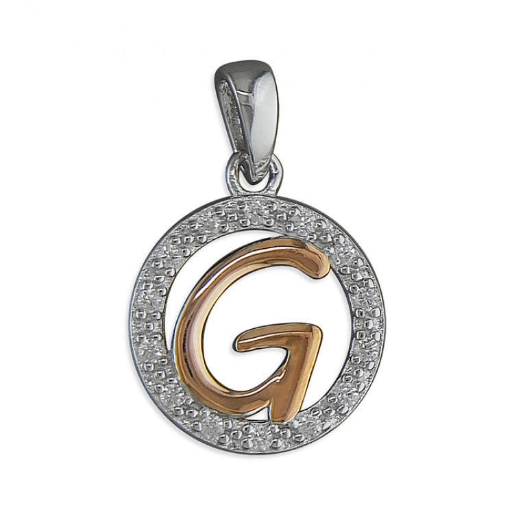 G Cubic zirconia circle with rose gold-plated initial