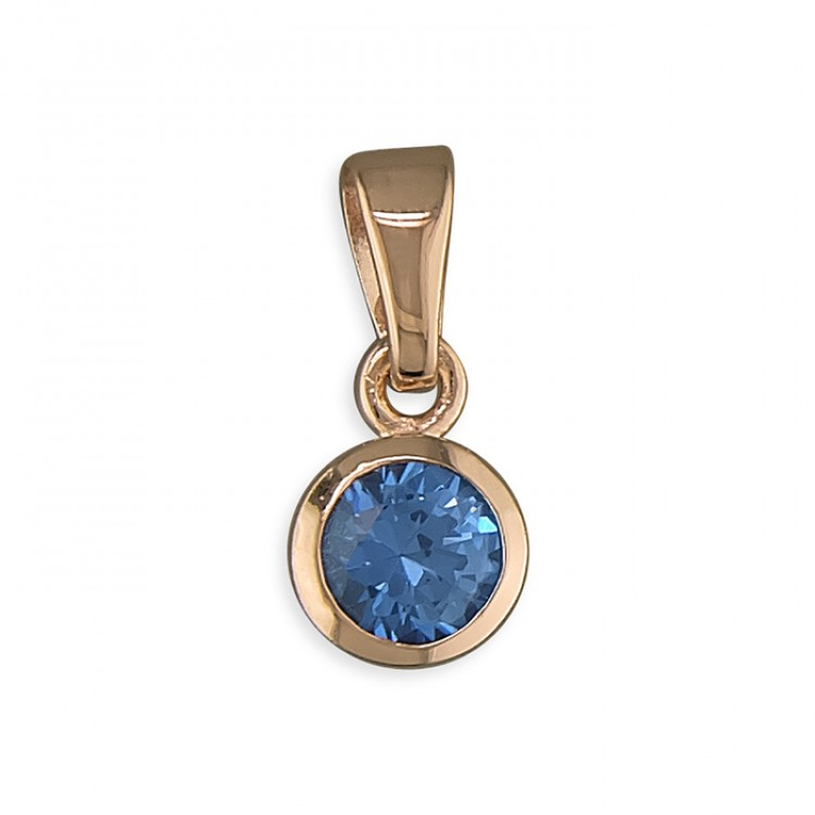 September birthstone rose gold-plated rub-over cubic zirconia