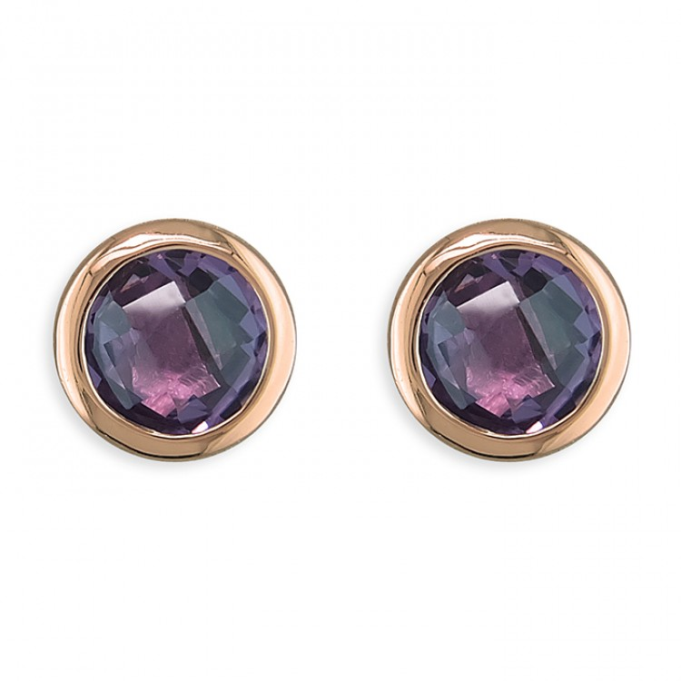 6mm round amethyst rose gold-plated stud
