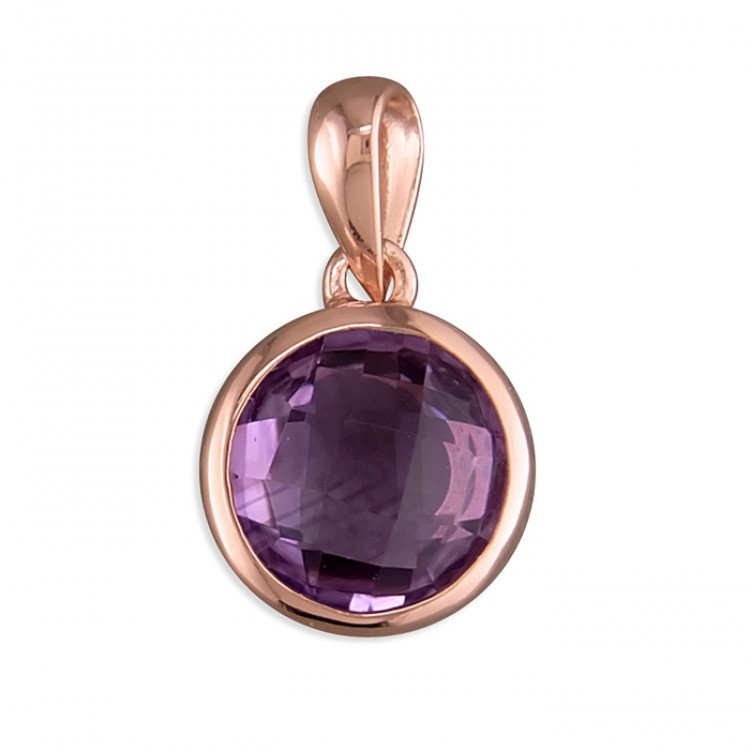 8mm round rose gold-plated amethyst
