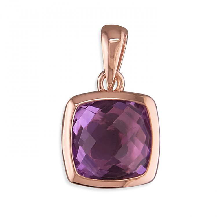 8mm rose gold-plated cushion amethyst