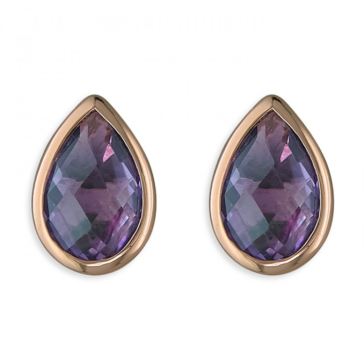 Pear amethyst rose gold-plated stud