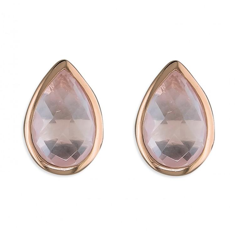Pear rose quartz rose gold-plated stud