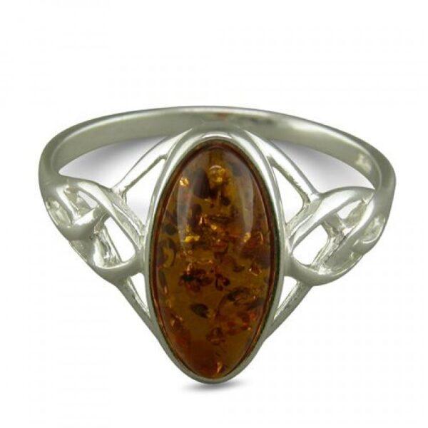 Oval cognac amber celtic shoulder