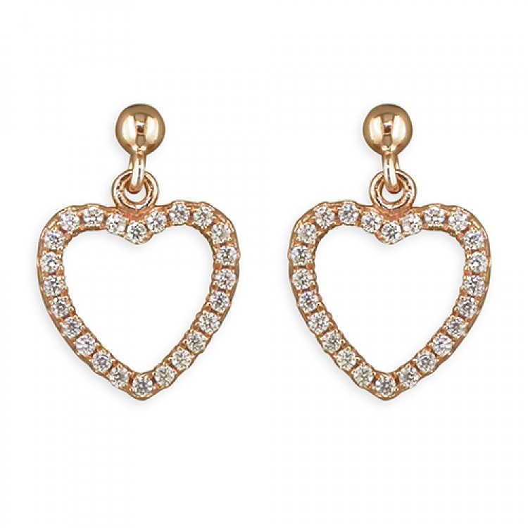 Rose gold-plated cubic zirconia outline heart drop