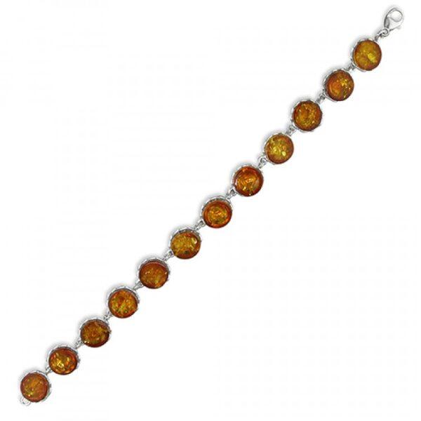 Cognac amber galleried-edge circles