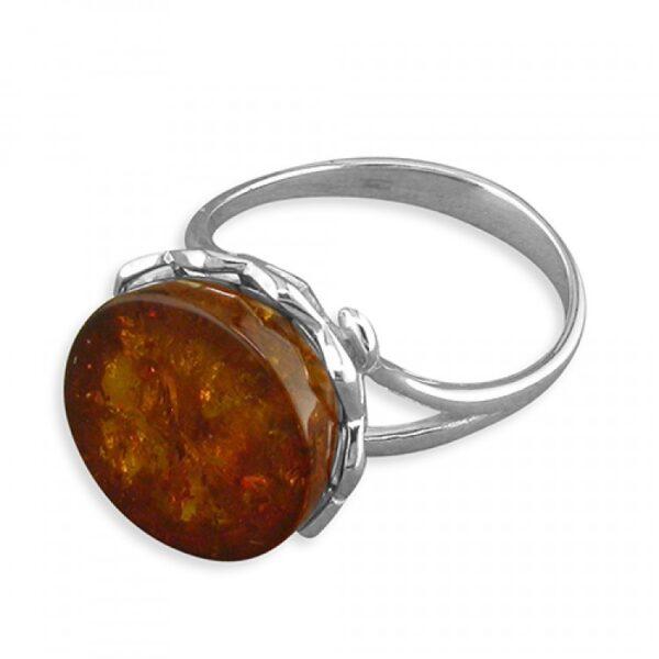 Cognac amber galleried-edge circle