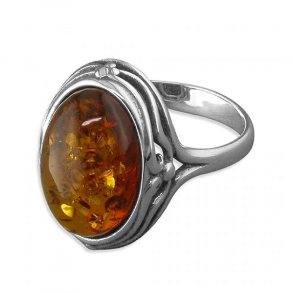 Cognac amber fancy-edged oval