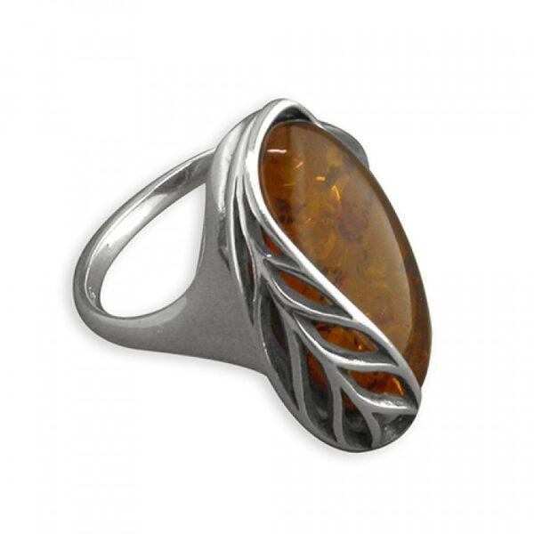 Cognac amber leaf-edged oval