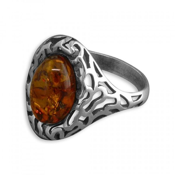 Cognac amber fancy cast oval