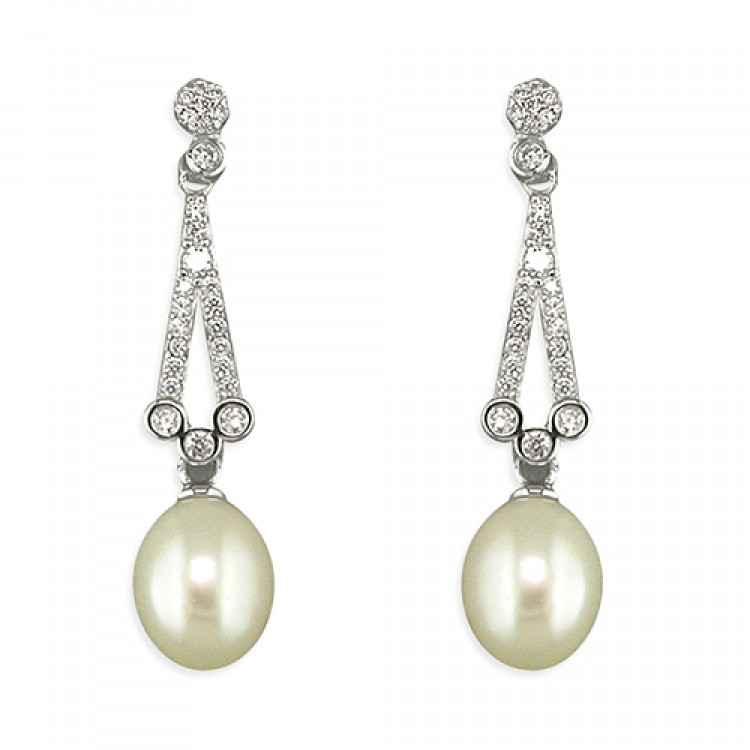 Cubic zirconia vintage with white freshwater pearl drop