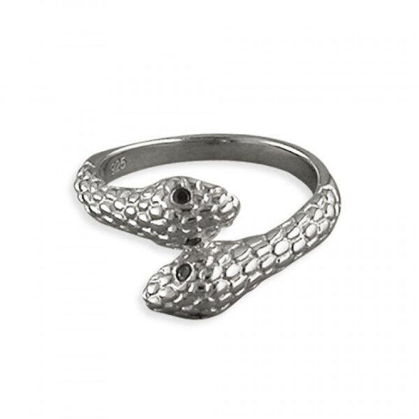 Double wrap-around snake with black cubic zirconia eyes