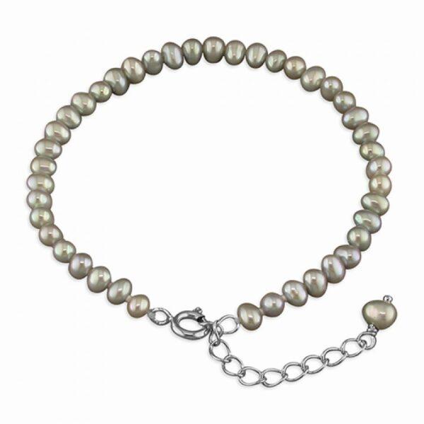 Pippa 15-18cm silver fresh water pearl bracelet