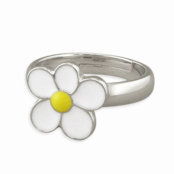 Pippa enamel daisy adjustable ring