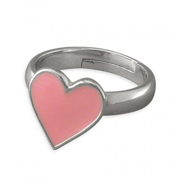 Pippa pink heart adjustable ring