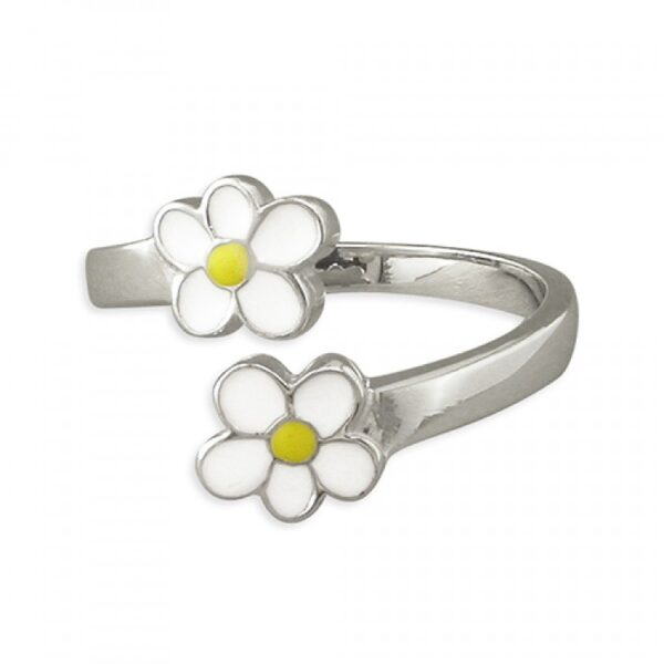 Pippa double daisy adjustable ring
