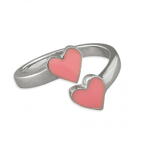 Pippa double heart adjustable ring