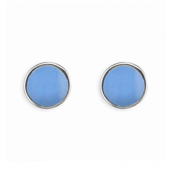 Pippa round blue enamel stud