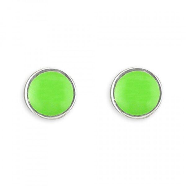 Pippa round green enamel stud