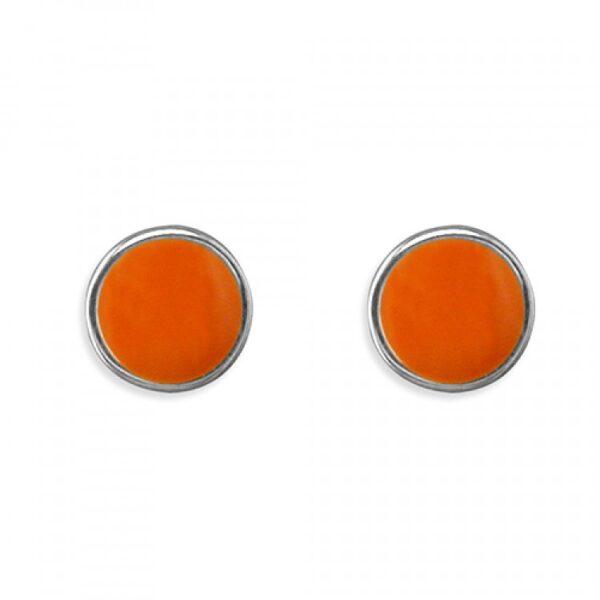Pippa round orange enamel stud