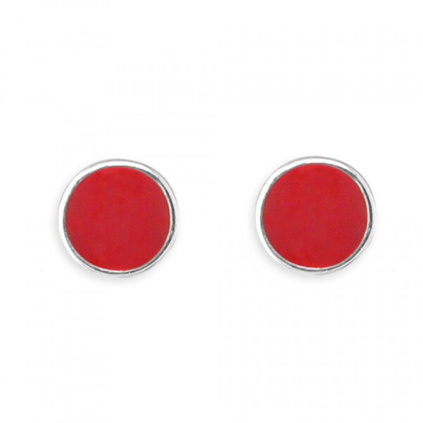 Pippa round red enamel stud