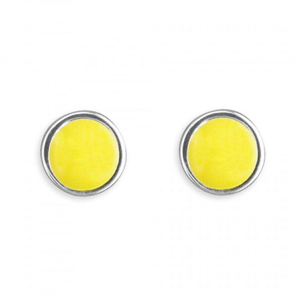 Pippa round yellow enamel stud