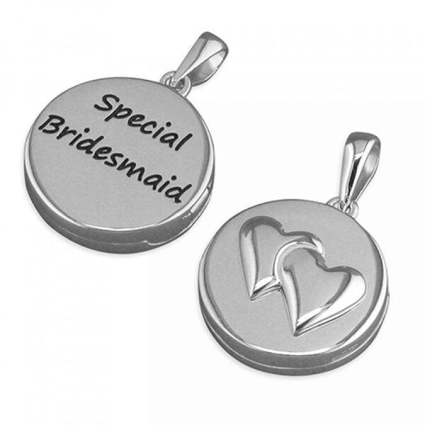 Pippa round bridesmaid hearts pendant