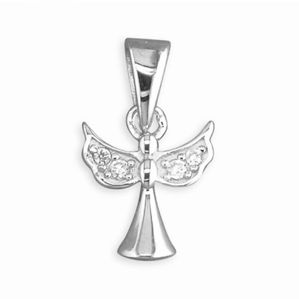 Pippa small cubic zirconia angel pendant