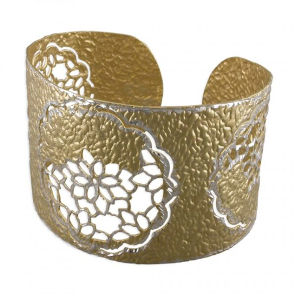 Silver and gold plated cutout flower beaten cuff