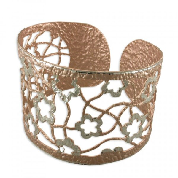 Silver and rose gold plated flower cuff