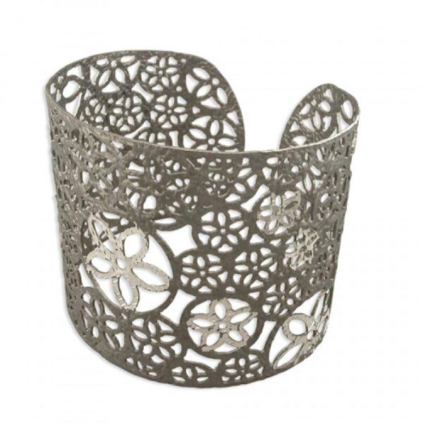 Silver and dark rhodium plated cutout flower cuff