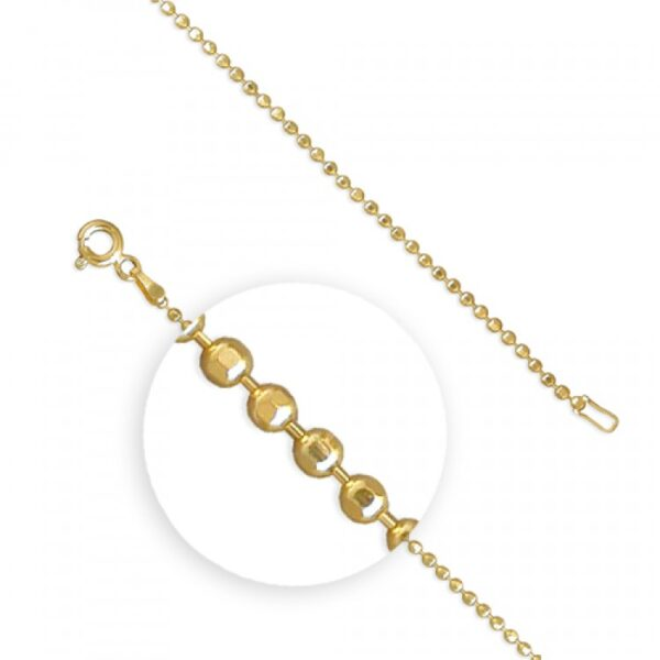 51cm/20in gold plated diamond cut beads