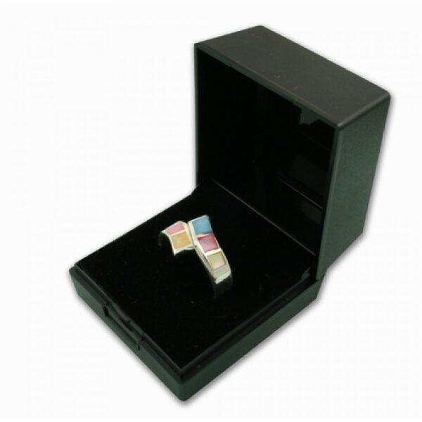 Black plastic hinged ring box