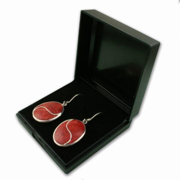 Black plastic hinged earrings box