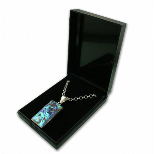 Black plastic hinged pendant box