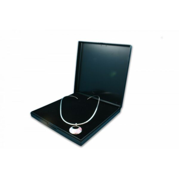 Black plastic hinged necklace box