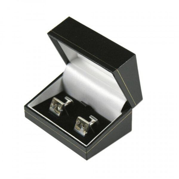 Black cufflinks box gilt border