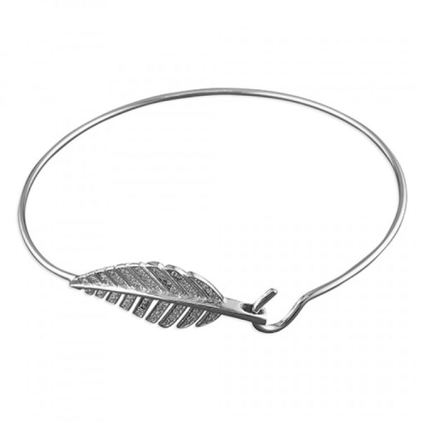Cubic zirconia leaf hook-in wire