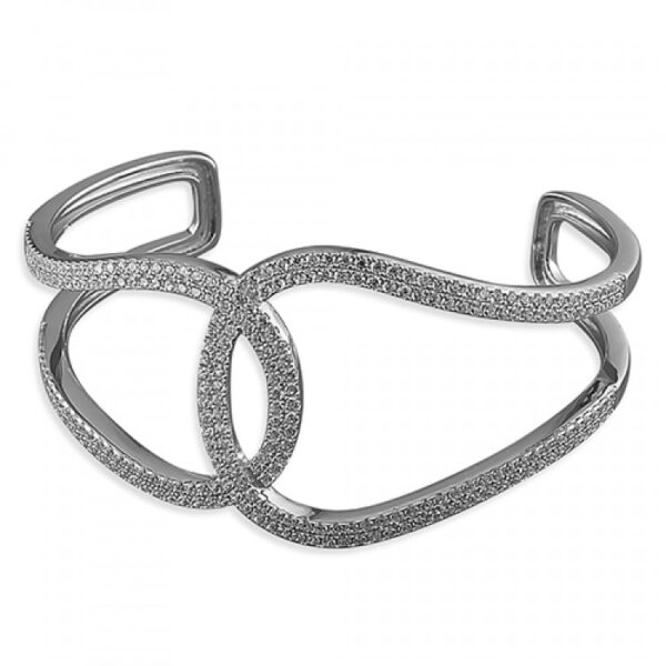 Overlapping double cubic zirconia loop cuff