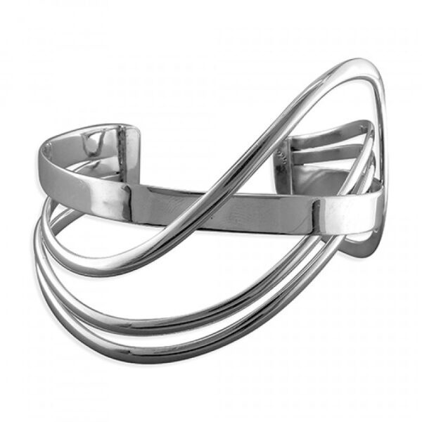Three thin and two thick strands crossover cuff