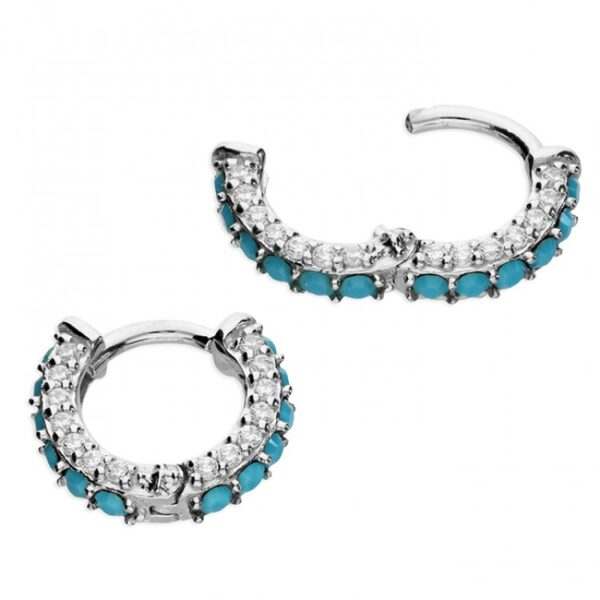 10mm synthetic turquoise and cubic zirconia mini hinged huggie