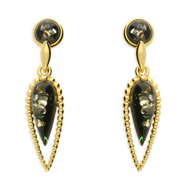 Green amber in a yellow gold-plated, beaded, arrow head design with green amber bead stud fitting
