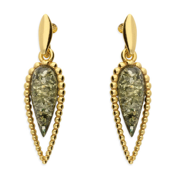Green amber in a yellow gold-plated, beaded, arrow head design with stud fitting and plain bale