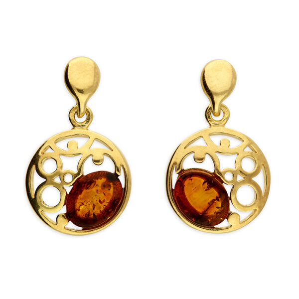 Gold-plated cognac amber bead set in a fancy swirl teardrop stud drop
