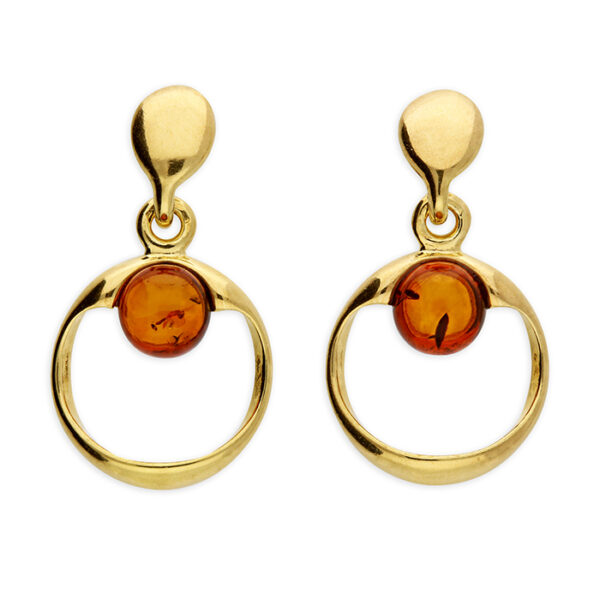 Gold-plated cognac amber bead situated at the top of a circle stud drop