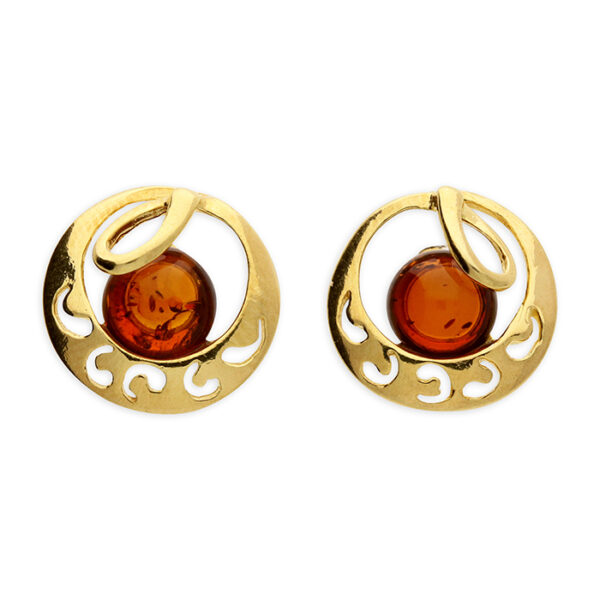 Gold-plated cognac amber bead set in a swirl patterned crescent moon loop stud