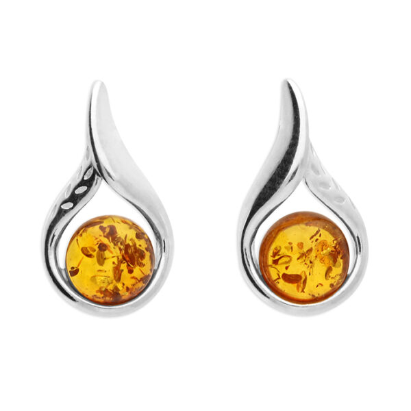 Cognac amber fancy loop stud