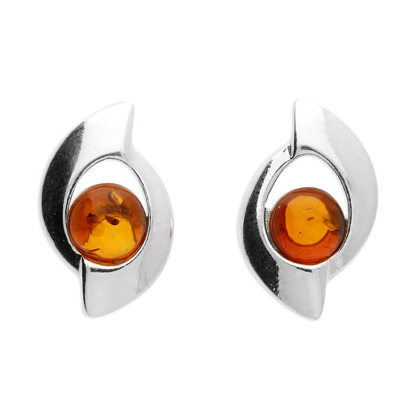 Cognac amber bead set in an abstract circle stud